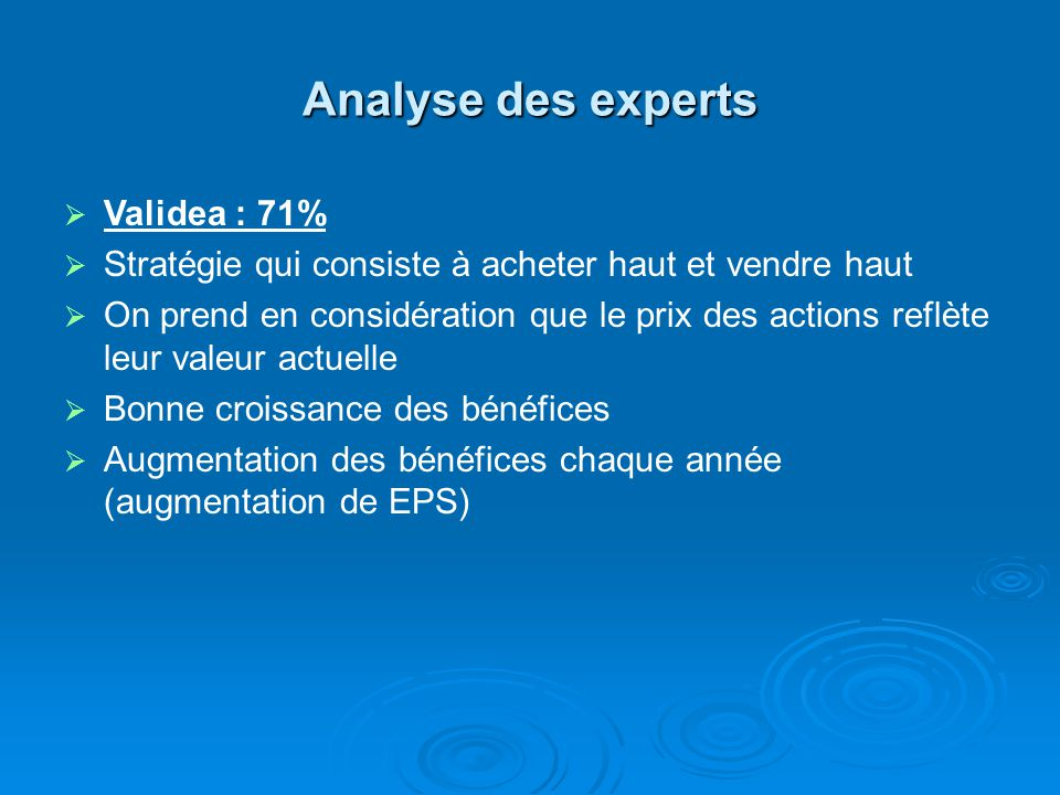 Analyse des experts Validea : 71%