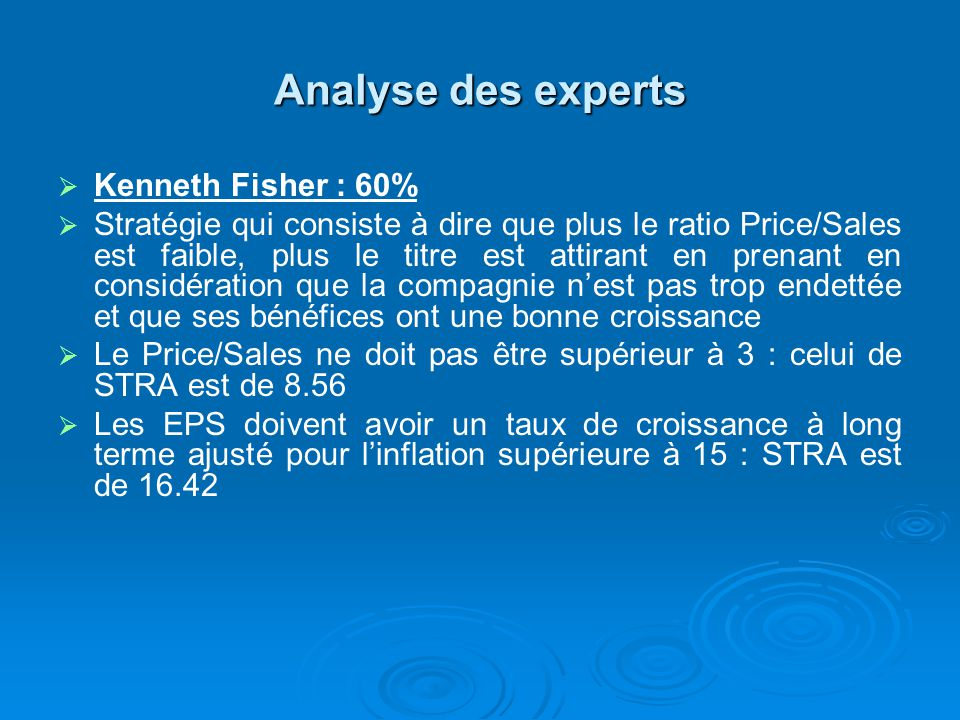 Analyse des experts Kenneth Fisher : 60%