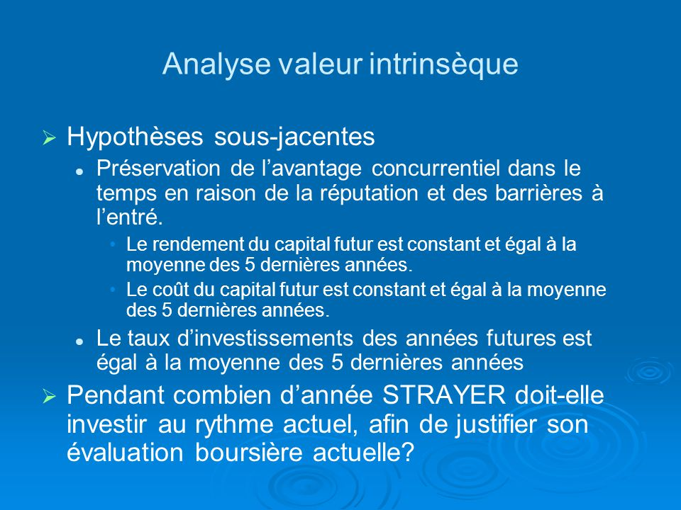 Analyse valeur intrinsèque