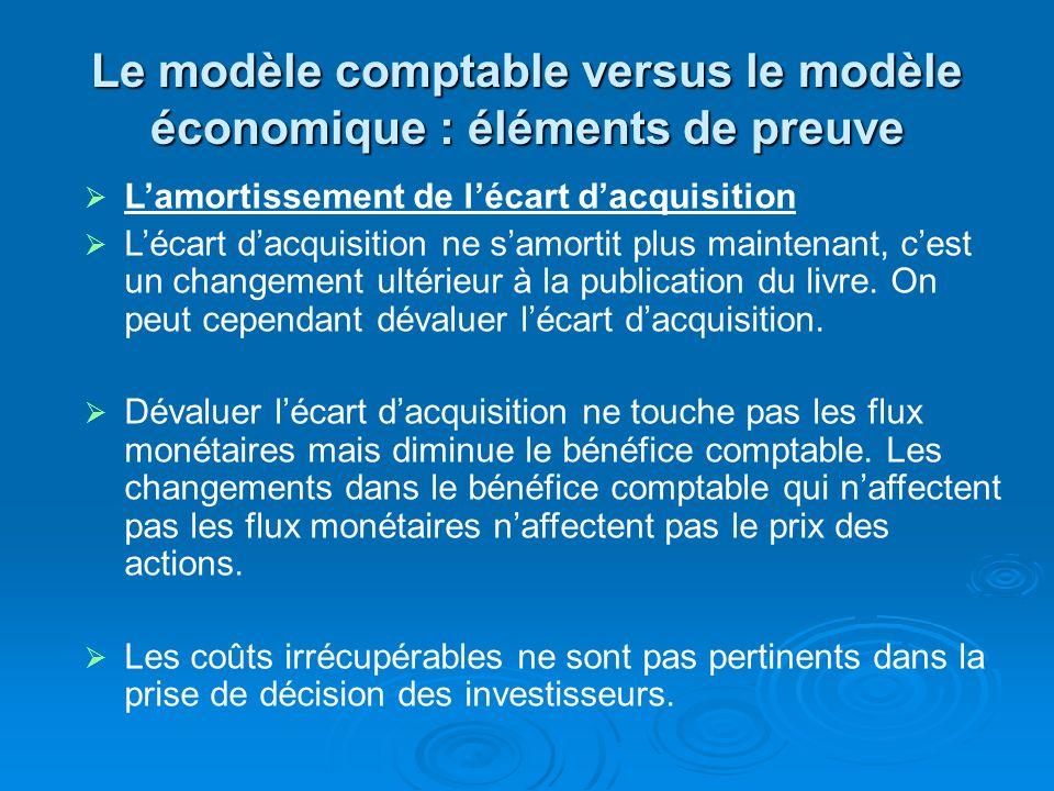 Le modèle comptable versus le modèle économique : éléments de preuve