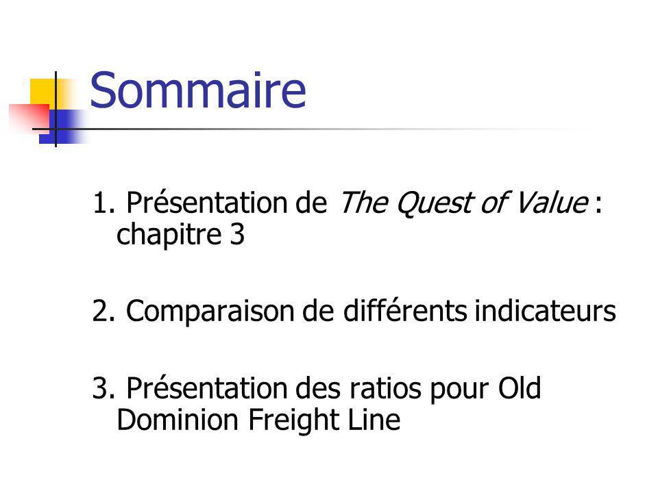 Sommaire 1. Présentation de The Quest of Value : chapitre 3
