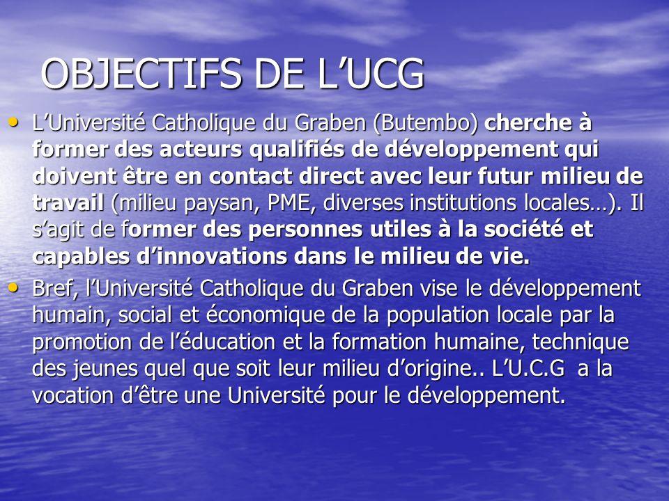 OBJECTIFS DE L'UCG