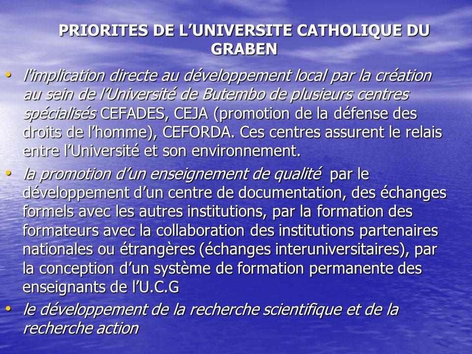 PRIORITES DE L'UNIVERSITE CATHOLIQUE DU GRABEN
