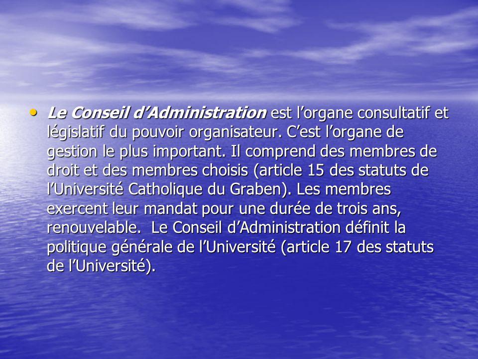 Le Conseil d'Administration est l'organe consultatif et législatif du pouvoir organisateur.