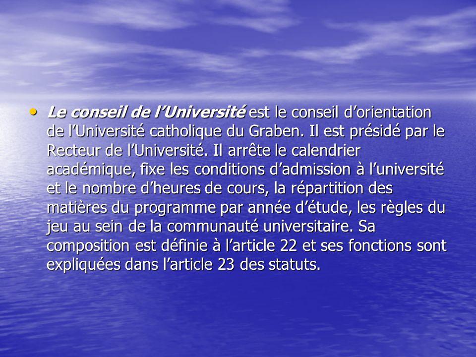 Le conseil de l'Université est le conseil d'orientation de l'Université catholique du Graben.