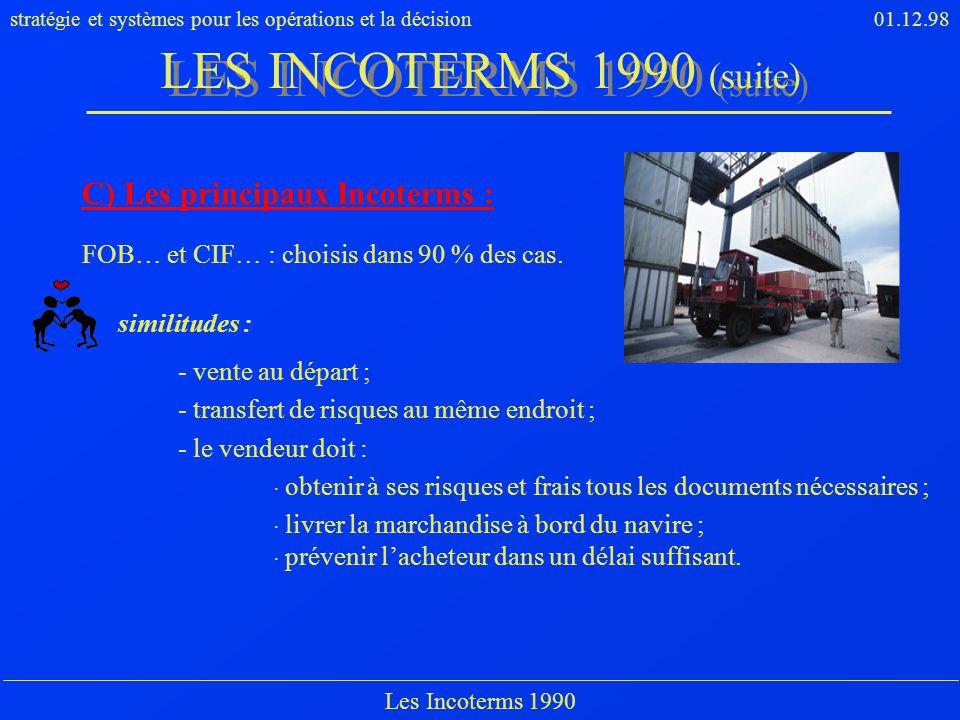LES INCOTERMS 1990 (suite) C) Les principaux Incoterms :