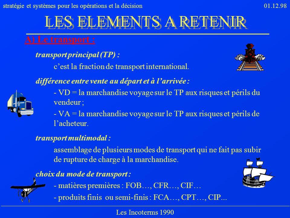 LES ELEMENTS A RETENIR A) Le transport : transport principal (TP) :