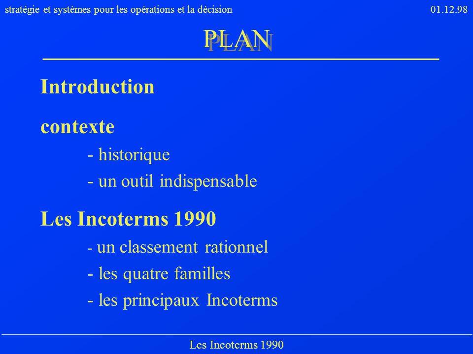 PLAN Introduction contexte Les Incoterms 1990 - historique