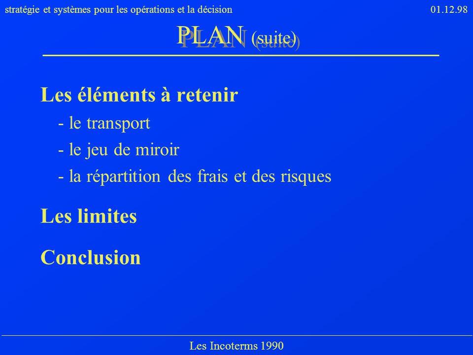 PLAN (suite) Les éléments à retenir Les limites Conclusion