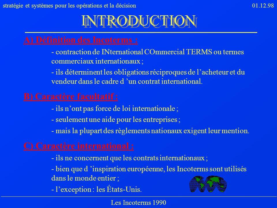 INTRODUCTION A) Définition des Incoterms : B) Caractère facultatif :