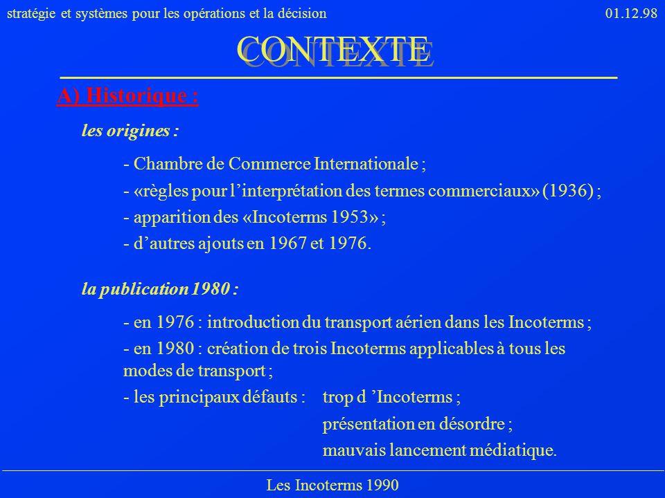 CONTEXTE A) Historique : les origines :