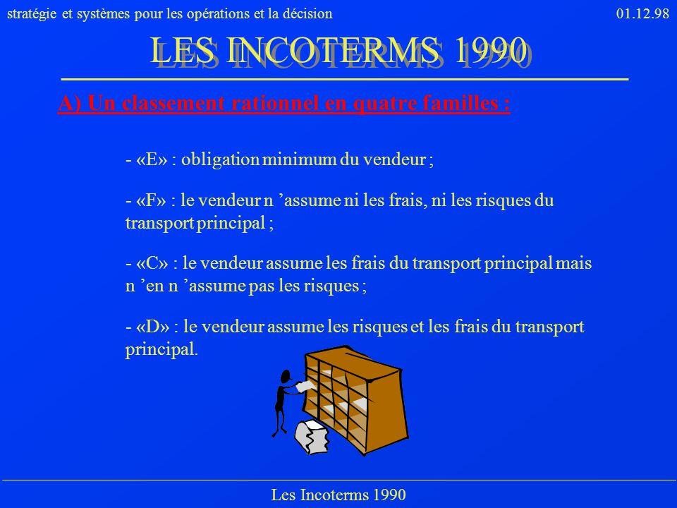 LES INCOTERMS 1990 A) Un classement rationnel en quatre familles :