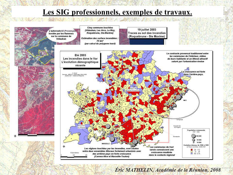 Les SIG professionnels, exemples de travaux.
