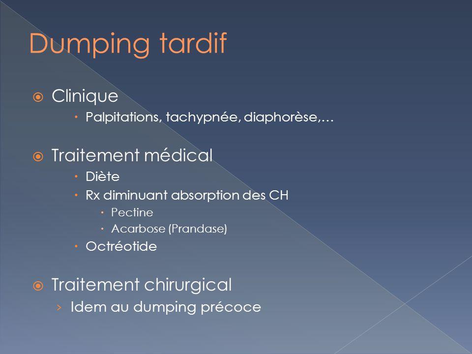 Dumping tardif Clinique Traitement médical Traitement chirurgical