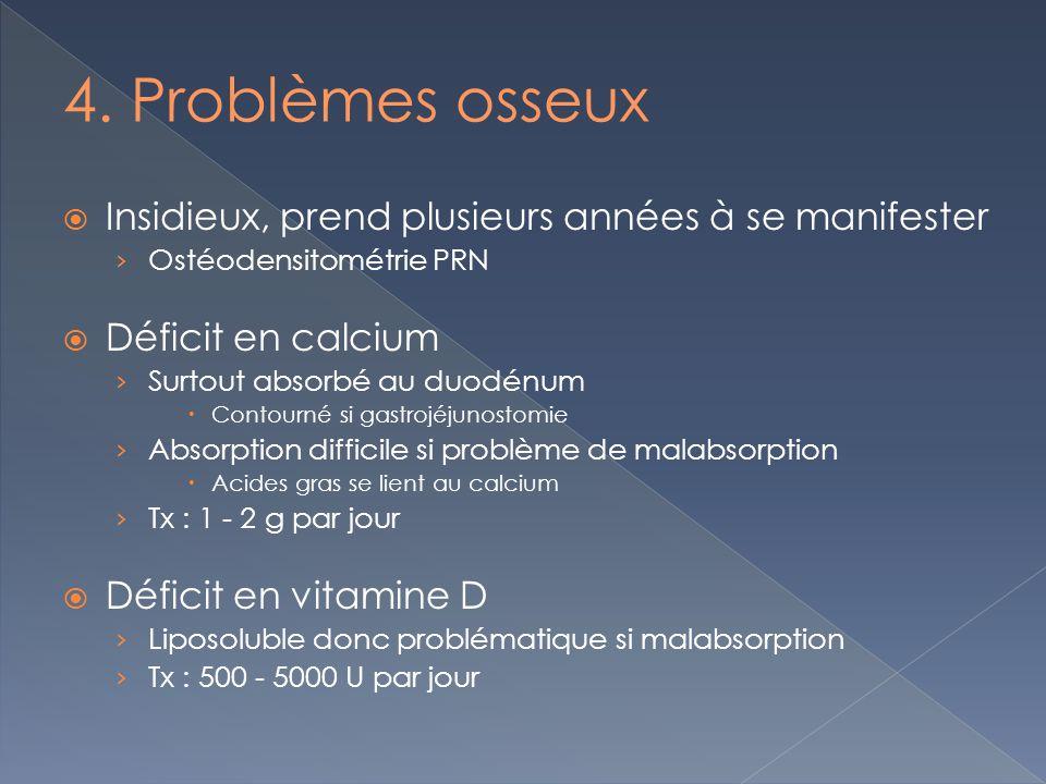 4. Problèmes osseux Insidieux, prend plusieurs années à se manifester