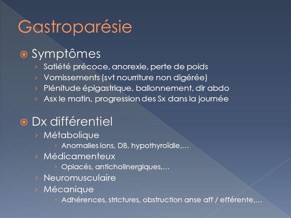 Gastroparésie Symptômes Dx différentiel Métabolique Médicamenteux