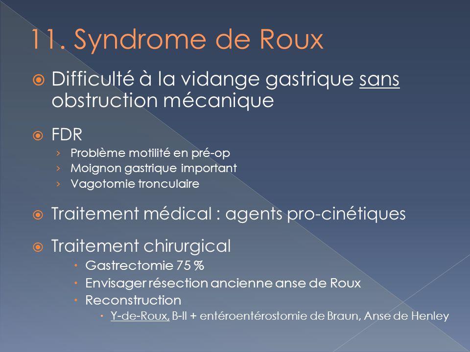 11. Syndrome de Roux Difficulté à la vidange gastrique sans obstruction mécanique. FDR. Problème motilité en pré-op.