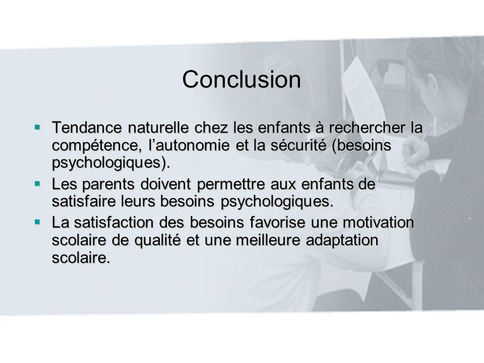 Conclusion Tendance naturelle chez les enfants à rechercher la compétence, l'autonomie et la sécurité (besoins psychologiques).