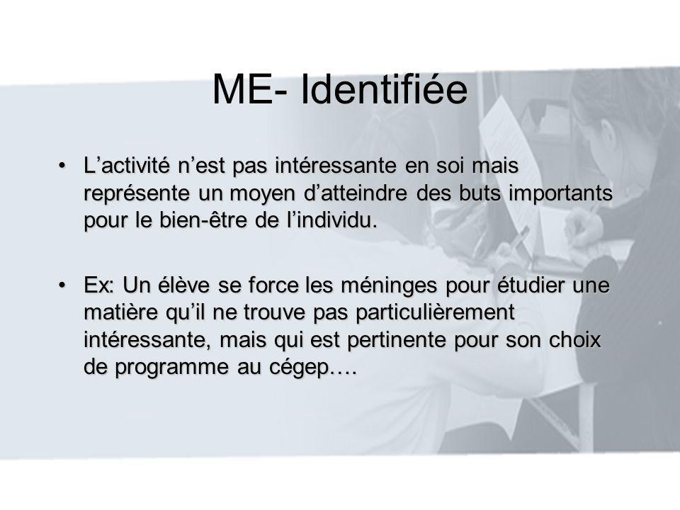 ME- Identifiée L'activité n'est pas intéressante en soi mais représente un moyen d'atteindre des buts importants pour le bien-être de l'individu.