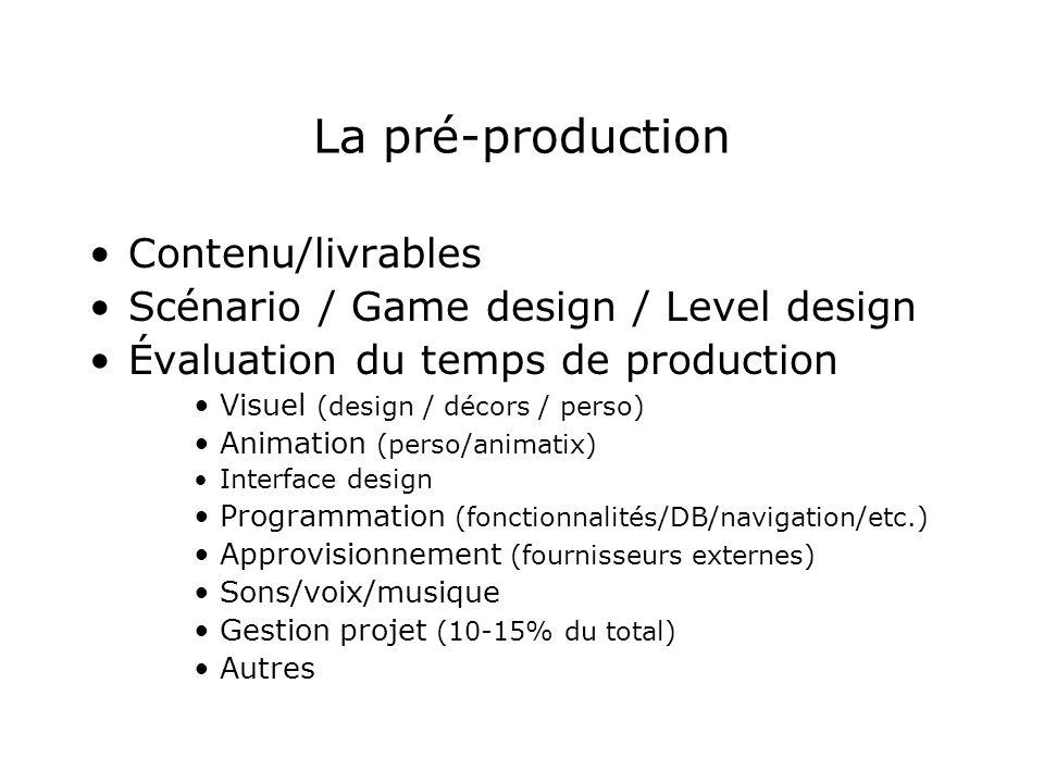 La pré-production Contenu/livrables