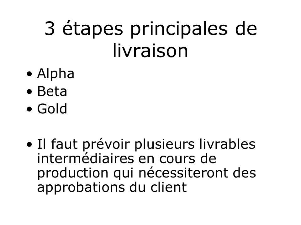 3 étapes principales de livraison