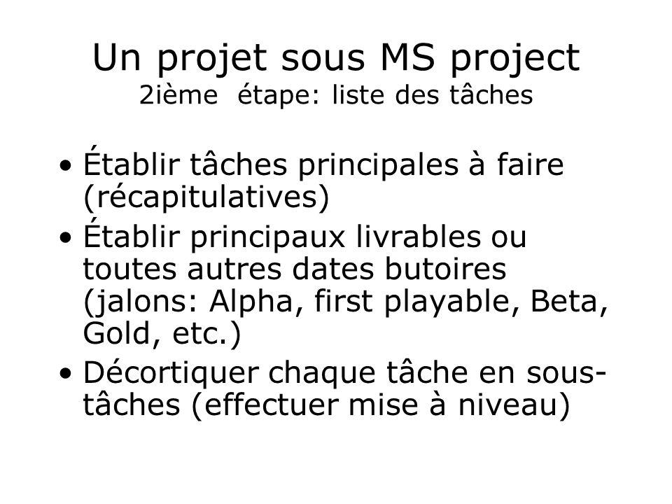 Un projet sous MS project 2ième étape: liste des tâches