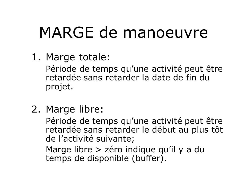 MARGE de manoeuvre Marge totale: Marge libre: