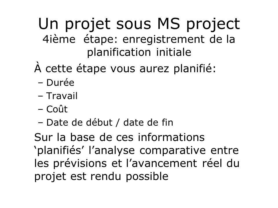 Un projet sous MS project 4ième étape: enregistrement de la planification initiale