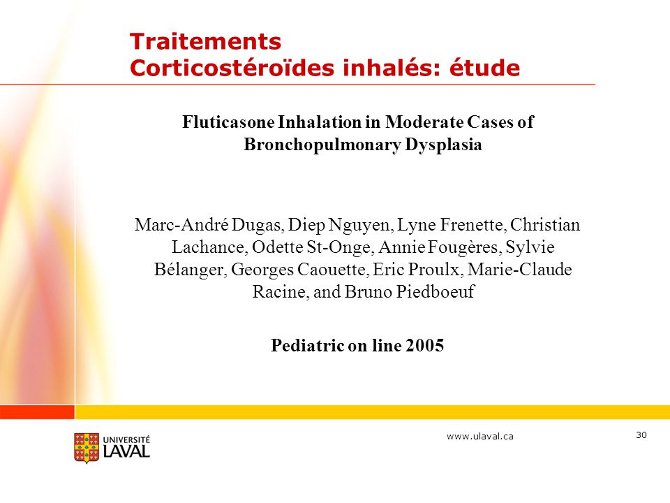 Traitements Corticostéroïdes inhalés: étude