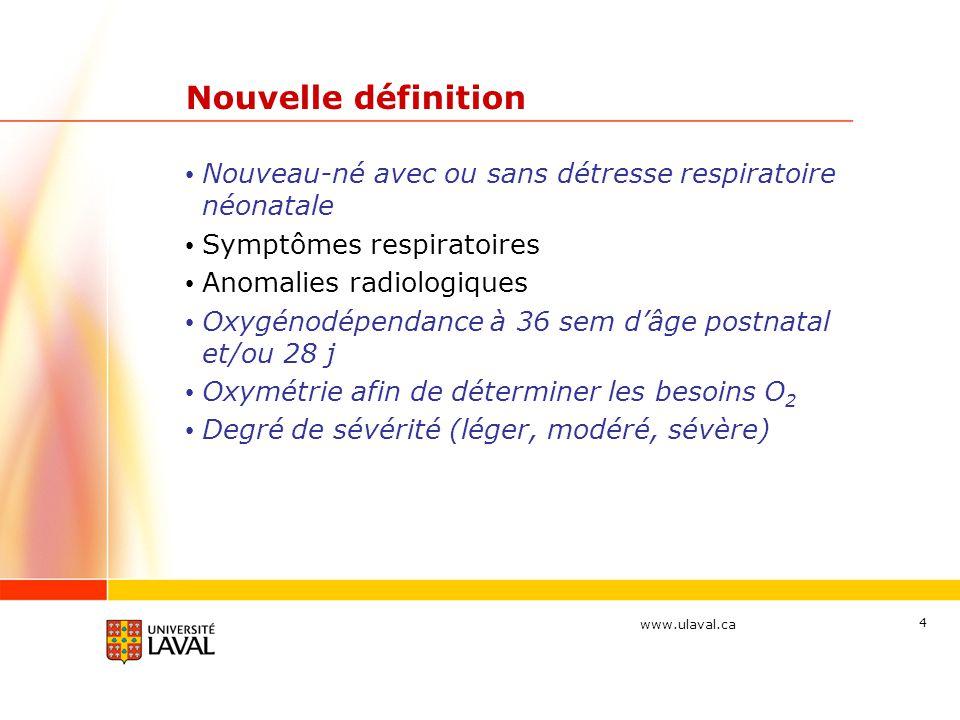 Nouvelle définition Nouveau-né avec ou sans détresse respiratoire néonatale. Symptômes respiratoires.