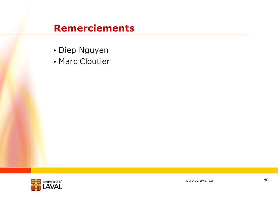Remerciements Diep Nguyen Marc Cloutier