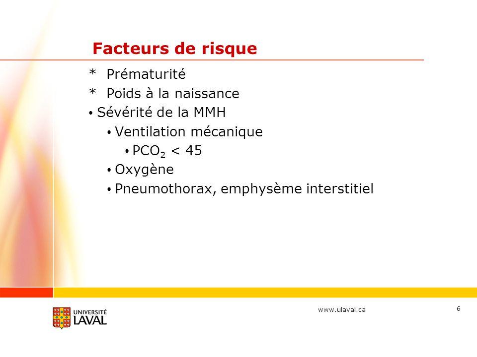 Facteurs de risque * Prématurité * Poids à la naissance
