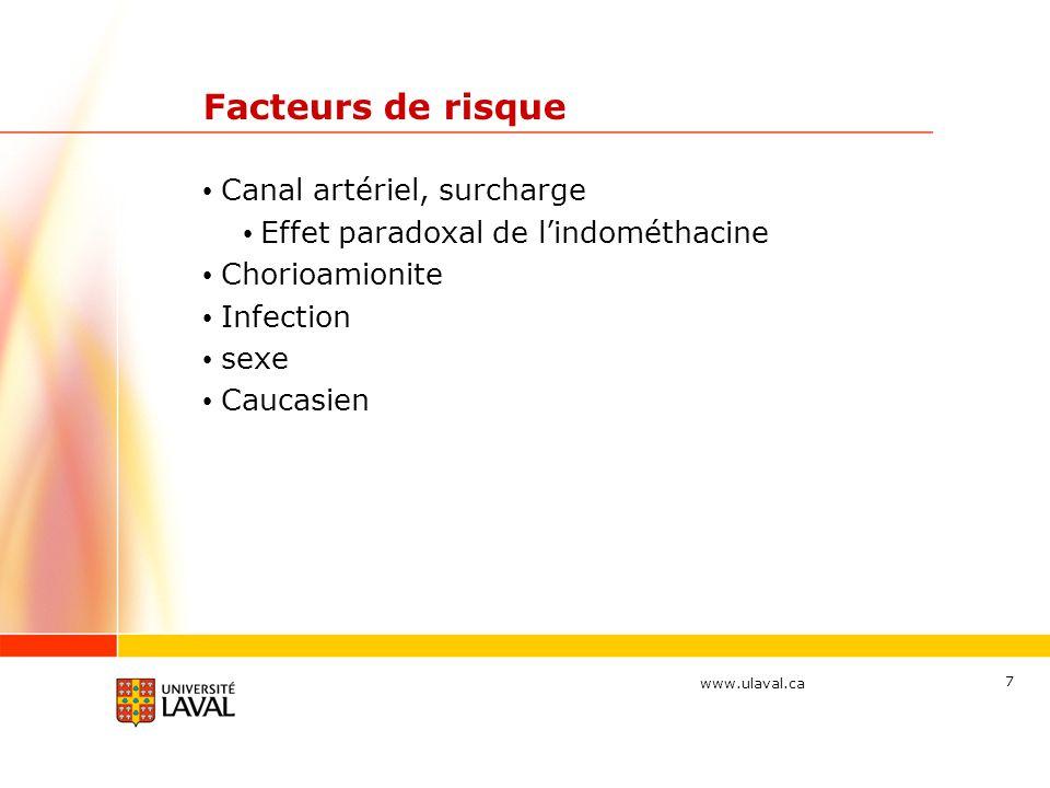 Facteurs de risque Canal artériel, surcharge