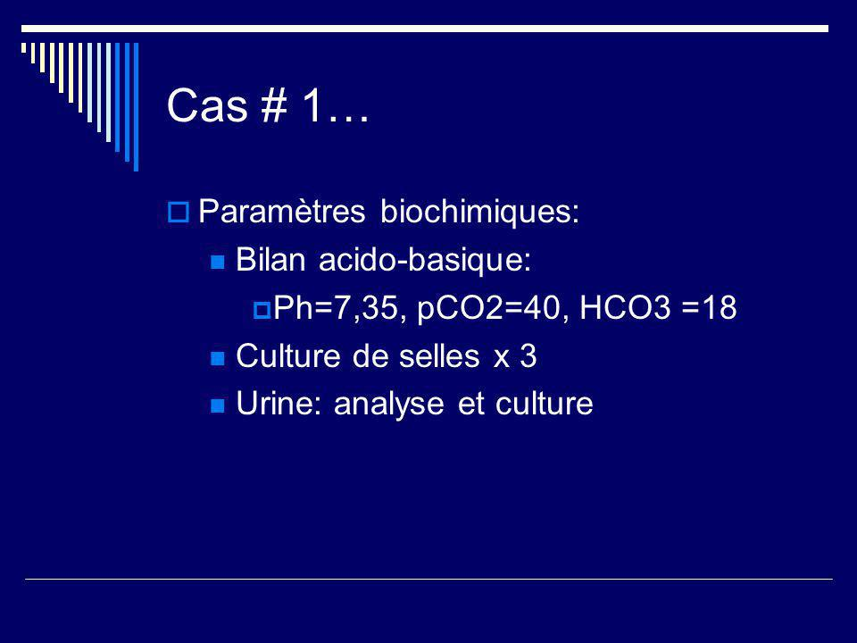 Cas # 1… Paramètres biochimiques: Bilan acido-basique: