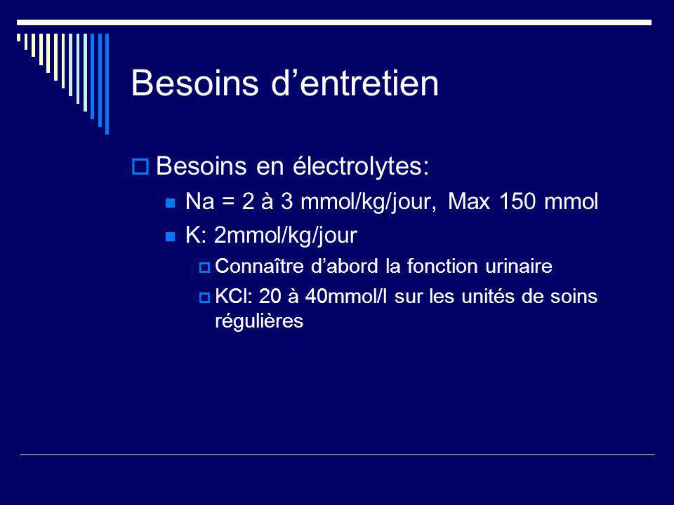 Besoins d'entretien Besoins en électrolytes: