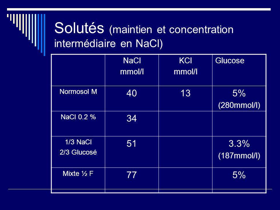 Solutés (maintien et concentration intermédiaire en NaCl)