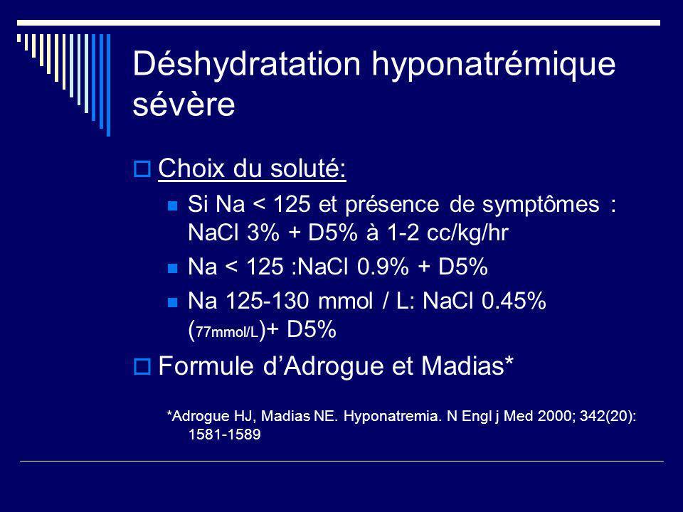 Déshydratation hyponatrémique sévère