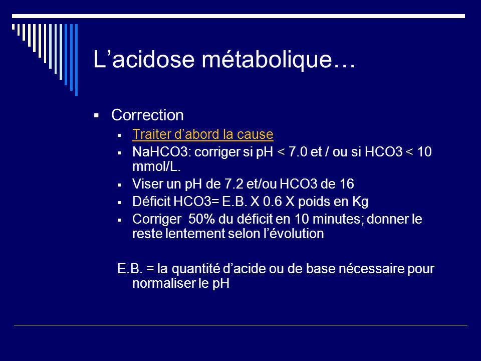 L'acidose métabolique…
