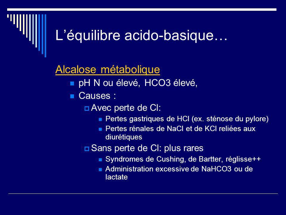 L'équilibre acido-basique…