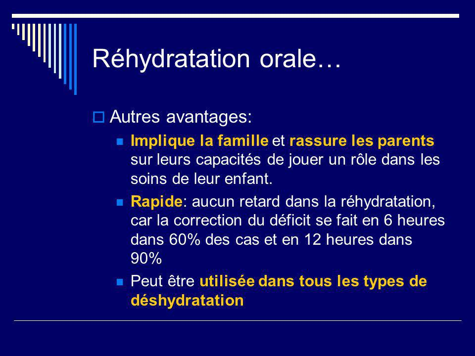 Réhydratation orale… Autres avantages: