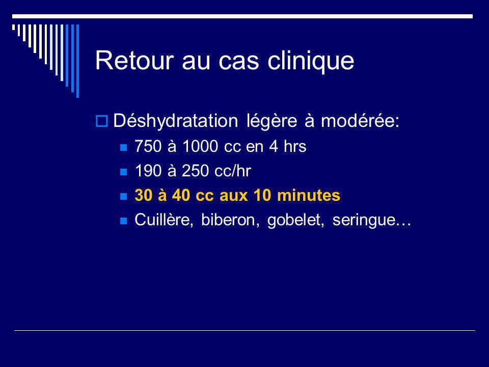 Retour au cas clinique Déshydratation légère à modérée:
