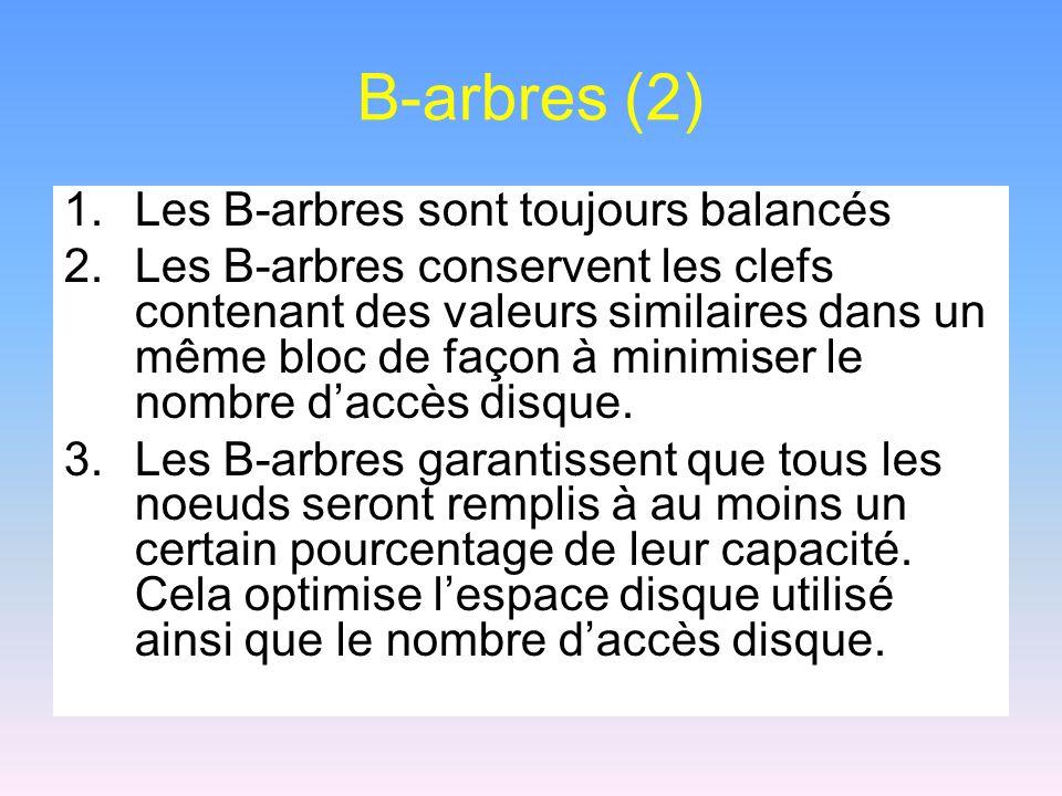 B-arbres (2) Les B-arbres sont toujours balancés