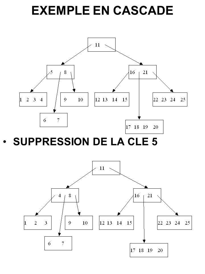 EXEMPLE EN CASCADE SUPPRESSION DE LA CLE 5