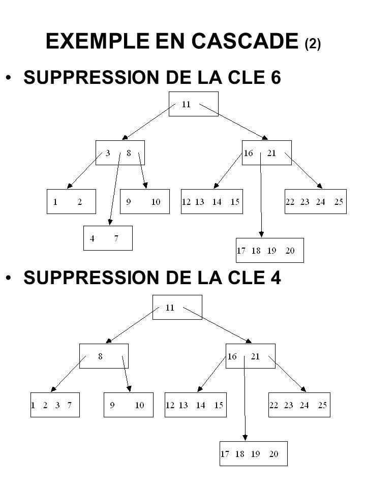EXEMPLE EN CASCADE (2) SUPPRESSION DE LA CLE 6 SUPPRESSION DE LA CLE 4