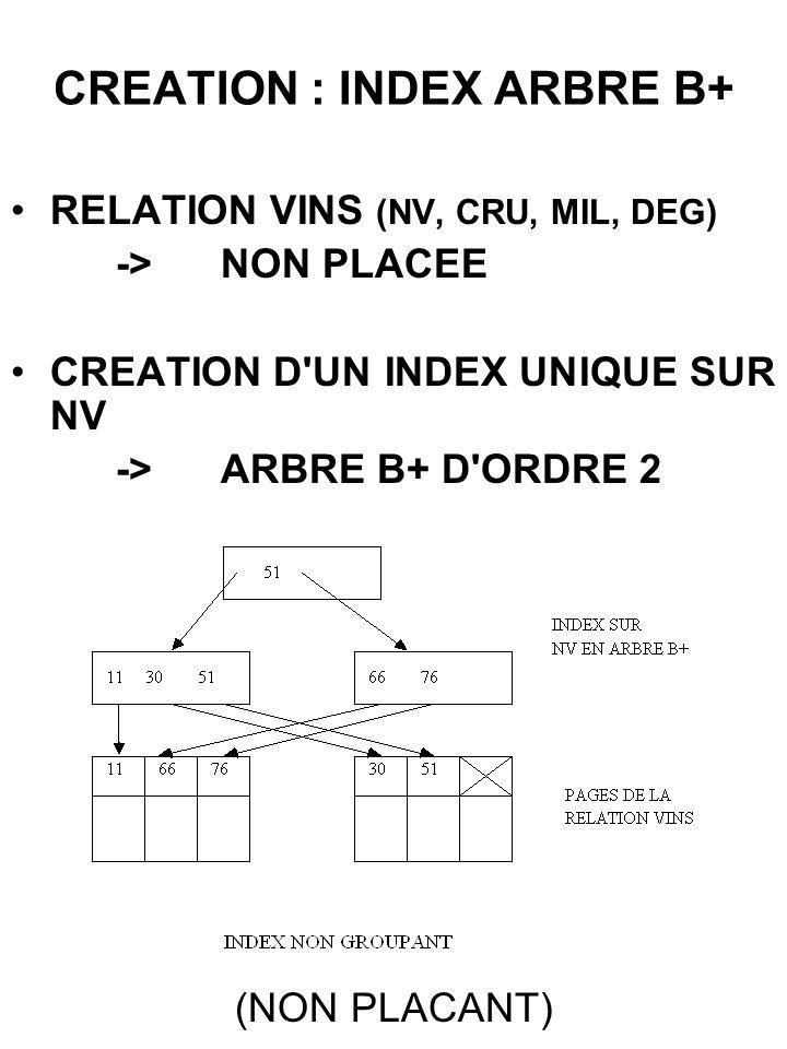 CREATION : INDEX ARBRE B+