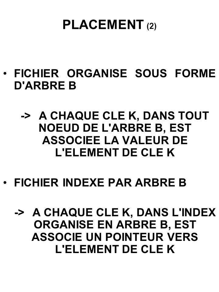 PLACEMENT (2) FICHIER ORGANISE SOUS FORME D ARBRE B