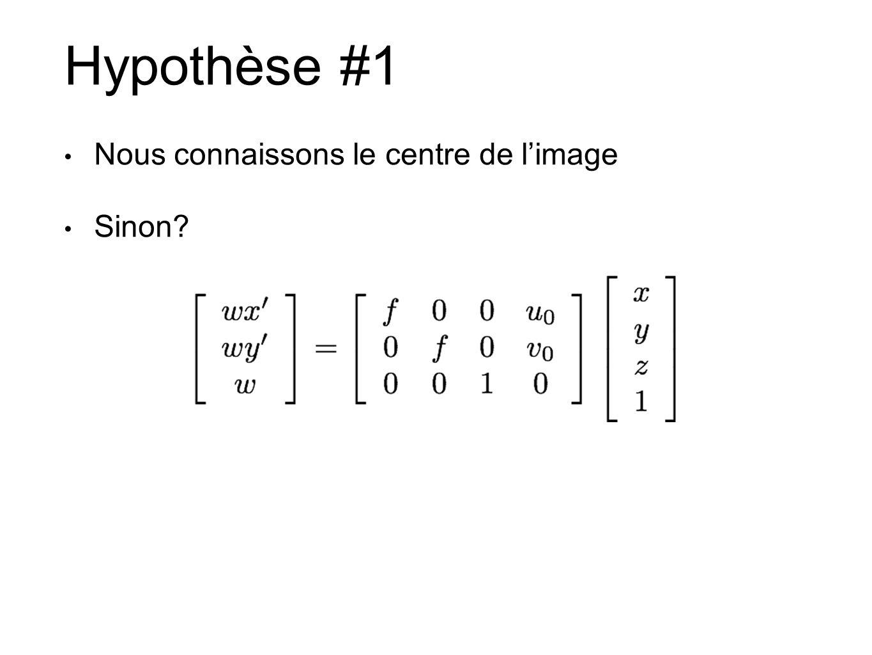 Hypothèse #1 Nous connaissons le centre de l'image Sinon