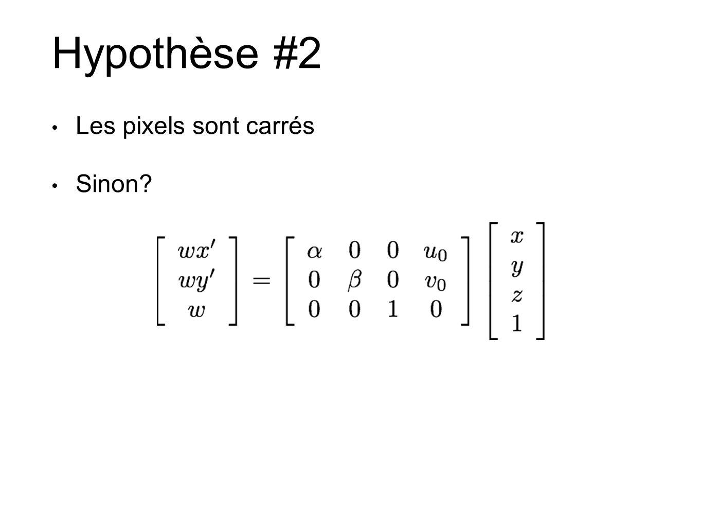 Hypothèse #2 Les pixels sont carrés Sinon