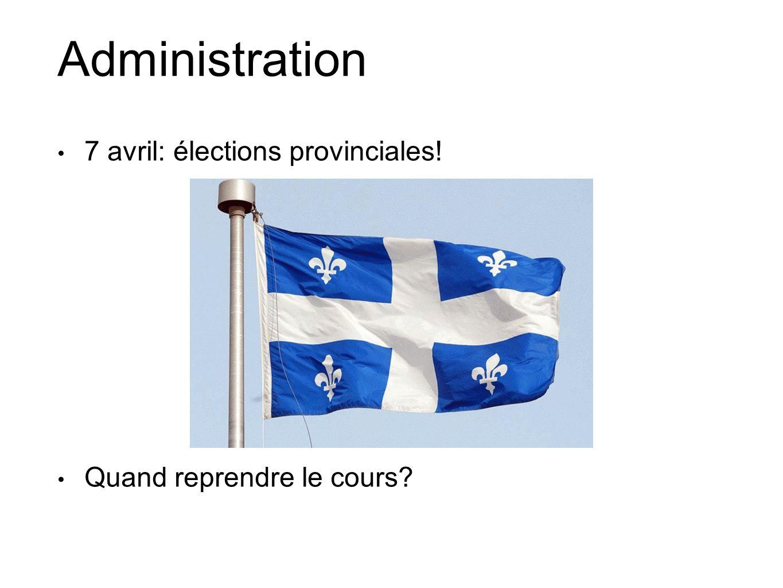 Administration 7 avril: élections provinciales!