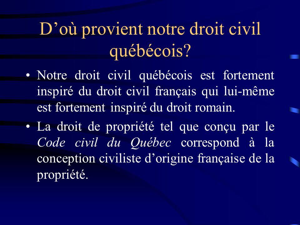 D'où provient notre droit civil québécois